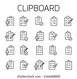 Clipboard related vector icon set. Well-crafted sign in thin line style with editable stroke. Vector symbols isolated on a white background. Simple pictograms.