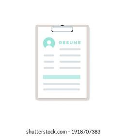 Clipboard resume icon. Vector illustration, flat design