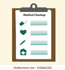 Clipboard and takes notes on it. Medical report infographics. Flat vector illustration