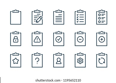 Clipboard and taskboard line icons. vector linear icon set.