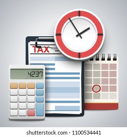 Clipboard with tax form, wall clock, calculator and flip calendar. Concept of tax day, calculation, payment or return. Realistic vector illustration isolated on white background