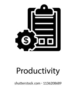 Clipboard with text and checkboxes and dollar sign enriched cog, making productivity icon