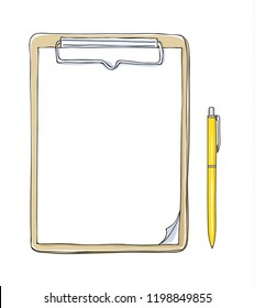 clipboard top view note paper art hand drawn vector illustration