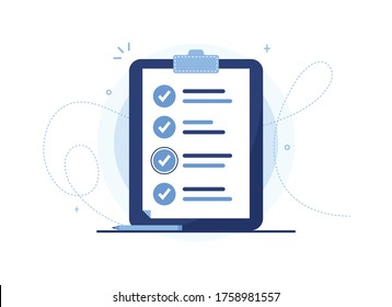 Clipboard vector illustration of a to-do list with pen. Page of work performed, preparation of the questionnaire, filling out documents. Organizer. Blue notebook, tablet. Check mark. Eps 10