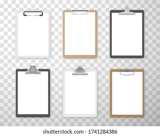 Clipboards with empty white paper sheets for business, education realistic set. Documents holders. Boards with different style clips vector mockups, templates isolated on transparent background.