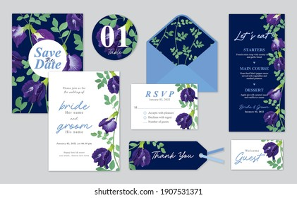 Clitoria ternatea or butterfly pea flower background template. Vector set of floral element for wedding invitations, greeting card, envelope, voucher, brochures and banners design.