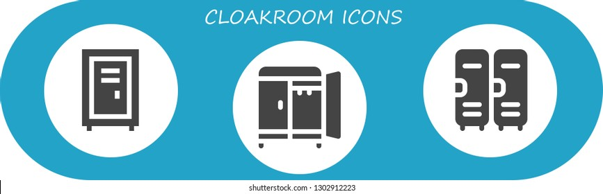 cloakroom icon set. 3 filled cloakroom icons.  Simple modern icons about  - Locker, Wardrobe, Lockers
