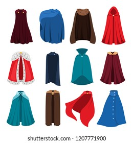 Cloaks party clothing and capes costume set. Outdoor fabric, over garment Vector flat style cartoon illustration isolated on white background
