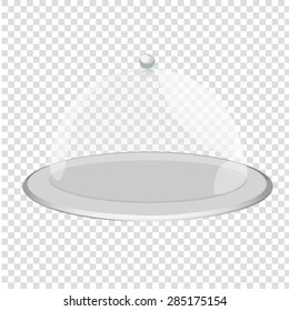 cloche restaurant close with object. Tray on a transparent background