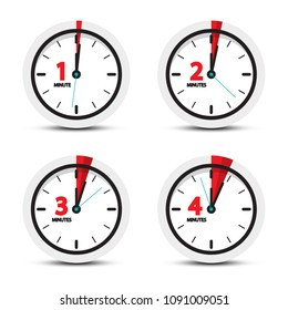 Clock. 1, 2, 3, 4 Minutes Time Icons.
