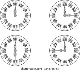Clock with 4 kinds of time