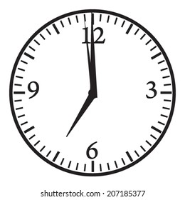 Clock. 7:00 pm or am. Morning or evening time. Vector icon.