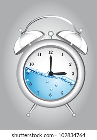 clock alarm with water over gray background. vector illustration