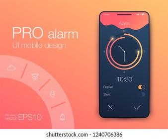Clock Application UI Design Concept, Vector EPS 10 Illustration. Alarm
