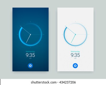 Clock Application UI Design Concept, Vector EPS 10 Illustration