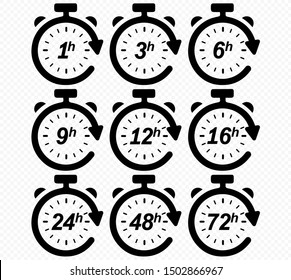 Clock arrow 1, 3, 6, 9, 12, 16, 24, 48, 72 hours. Set of delivery service time icons.