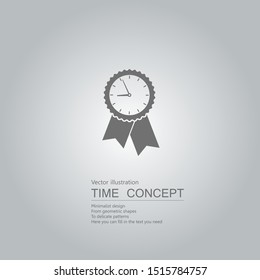 Clock badge icon. Isolated on grey background.