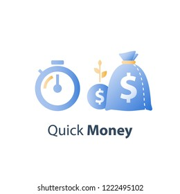 Clock and bag, time is money, fast loan, quick credit, payment period, savings account, financial benefit, vector icon