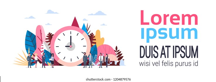 clock business people hand hold clipboard mix race working together , punctuality concept over flat banner copy space vector illustration