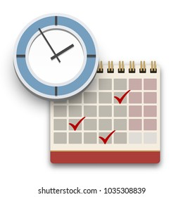 Clock and Calendar with check marks icon. Completed task, schedule, appointment or deadline concept. Flat style vector illustration