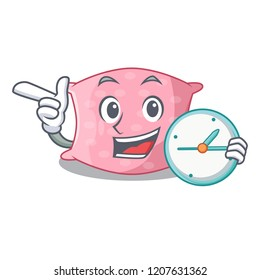 With clock cartoon cute pillow decorated in sofa