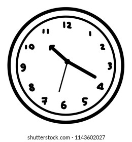 clock / cartoon vector and illustration, black and white, hand drawn, sketch style, isolated on white background.