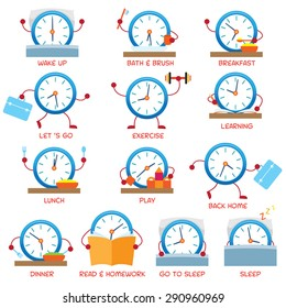 Clock Character Daily Routine, timetable, Time Concept