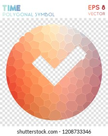 Clock circled polygonal symbol, adorable mosaic style symbol. Uncommon low poly style, modern design.