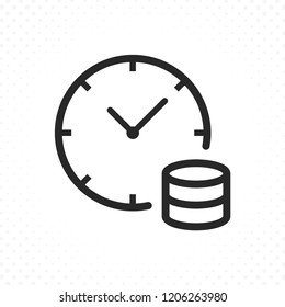 Clock and coins icon. Time is money concept, Bank loans symbol. Long term investment, Income growth illustration. Time management, Savings plan symbol