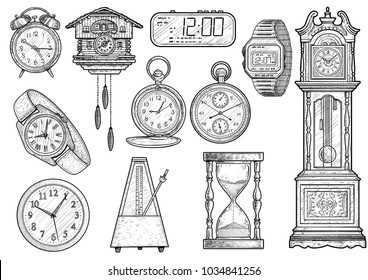 Clock collection illustration, drawing, engraving, ink, line art, vector