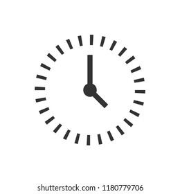 Clock countdown icon in flat style. Time chronometer vector illustration on white isolated background. Clock business concept.
