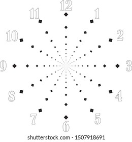 clock dial big void numbers black diamond axes signs pointing negative space for seconds on transparent background
