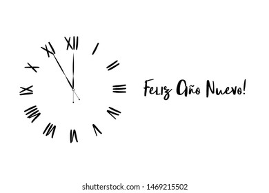 Clock dial Feliz año nuevo Happy new year Spanish handwritten text.