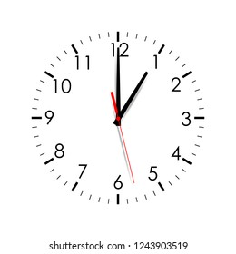 Clock dial shows one o'clock isolated on white background. Vector illustration