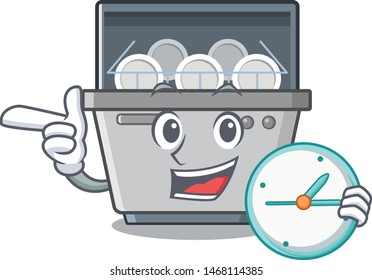With clock dishwasher machine isolated in the cartoon