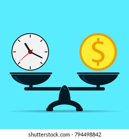 Clock and dollar on scales, balance. Time is money concept. Flat design of vector illustration.