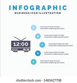 Clock, Electric, Time, Machine Infographics Presentation Template. 5 Steps Presentation