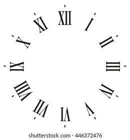 clock face blank with Roman numbers- Vector illustration