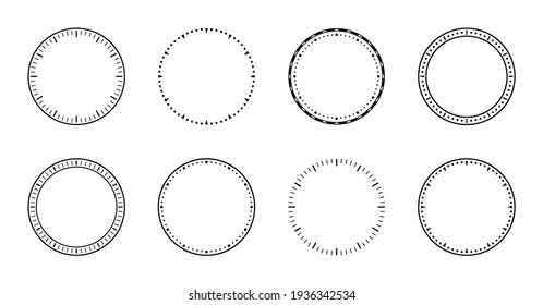 Clock face. Dial of watch. Circles of clock faces for time. Simple graphic icon isolated on white background. Design of outline of watch for wall. Modern blank timer. Silhouette of stopwatch. Vector.