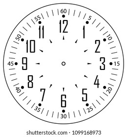 Clock face for house, alarm, table, kitchen, wall clocks, wrist watches or clocks models for kids. Dial for pocket, stop watches, timer. For mark opening, visiting, office, business or working hours.