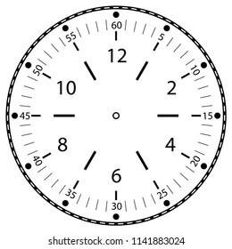Clock face for house, alarm, table, kitchen, wall, wristwatches or special models for kids. Dial for pocket, stop watches or timer. For mark opening, visiting, office, business or working hours.
