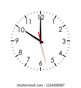 Clock face isolated on white background. 10 o'clock. Vector illustration
