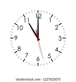 Clock face isolated on white background. 11 o'clock. Vector illustration