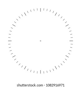 Clock face. Measuring circle scale. Measuring round scale, Level indicator, measurement acceleration, circular meter, round meter for household appliances. 12 large divisions, 60 medium. Vector EPS10