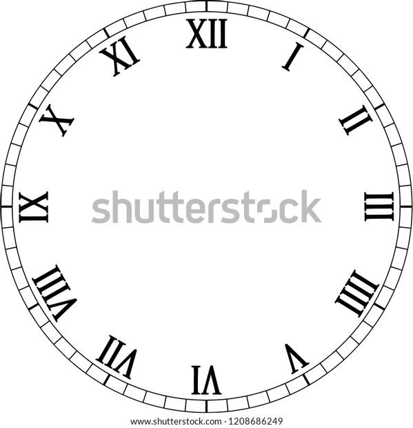 Clock Face Roman Numerals Stock Vector (Royalty Free) 1208686249