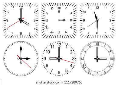 Clock face. Round and square set. Vector illustration isolated on white background