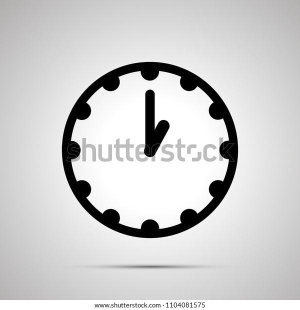 Clock face showing 1-00, simple black icon isolated on white