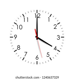 Clock face showing 4 o'clock isolated on white background. Vector illustration