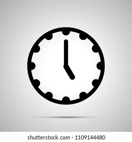 Clock face showing 5-00, simple black icon isolated on white