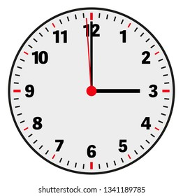 clock face vector illustration showing 3 o'clock on white